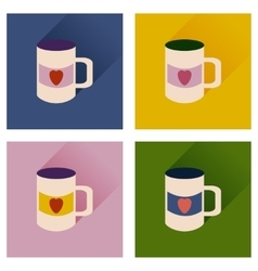 Set of flat icons with long shadow cup heart vector