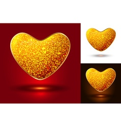 Set of shiny icons hearts vector