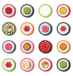 set of type seafood roll japanese food sushi vector image