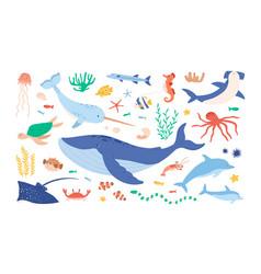 Set sea and ocean underwater animals cute vector