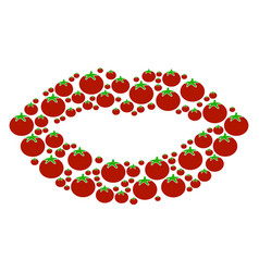 sexy lips composition of tomato vector image