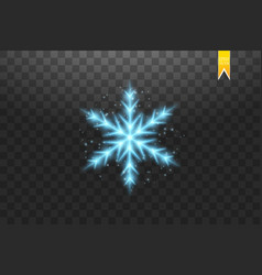 shine blue snowflake with glitter isolated on vector image