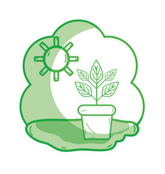 Silhouette plant inside of flowerpot with sunny vector