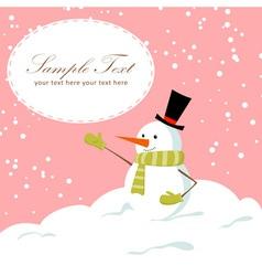 Snowman card pink vector