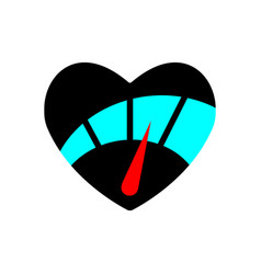 Speedometer in heart icon with red arrow black vector