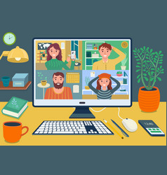 Stay and work from home video conference meeting c vector