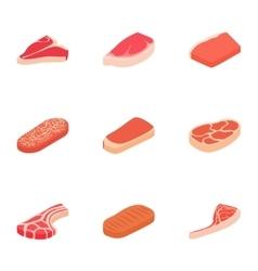 Steak icons set cartoon style vector