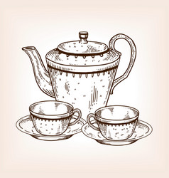 tea set utensil engraving vector image