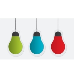 Three colorful paper bulbs vector image
