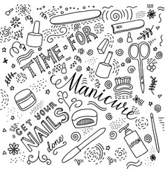 time for manicure doodle lettering vector image