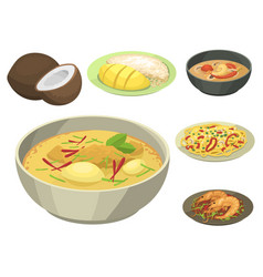 Traditional national thai food thailand asian vector