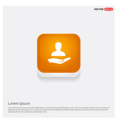 user in hand icon orange abstract web button vector image