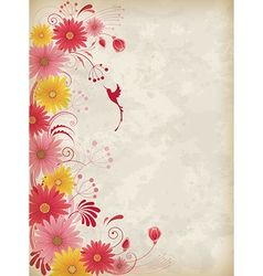 Vintage background with red and yellow flowers vector image vector image