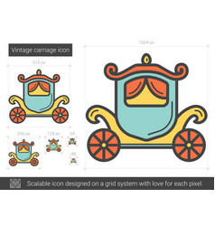 Vintage carriage line icon vector