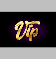 Vip 3d gold golden text metal logo icon design vector