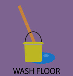Wash floor icon flat design vector image
