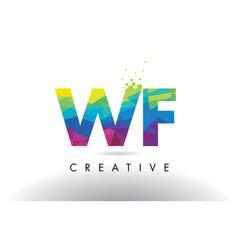 wf w f colorful letter origami triangles design vector image