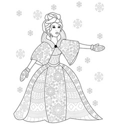 Winter woman coloring for adults vector