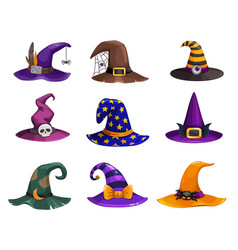 witch hats icons cartoon wizard headwear vector image