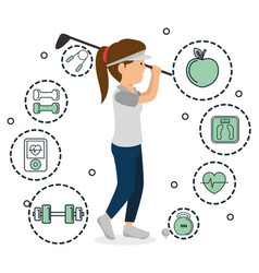 Woman playing golf with sports icons vector