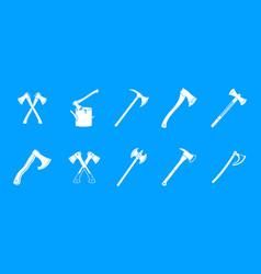 axe icon blue set vector image