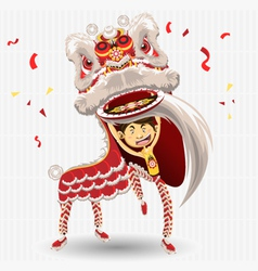 chinese lion dancing vector image vector image