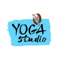 yoga studio concept logo design elegant hand vector image vector image