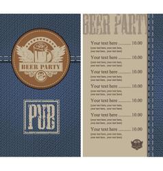 beer jeans vector image vector image