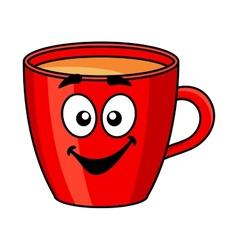Colorful red cartoon mug of coffee vector image vector image