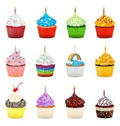 Cupcakes Collection Set vector image