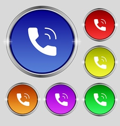 Phone icon sign Round symbol on bright colourful vector image