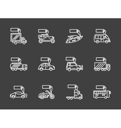 Sale of transport white line icons set vector image vector image