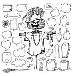 set of halloween speech bubbles vector image vector image