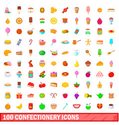 100 confectionery icons set cartoon style vector image