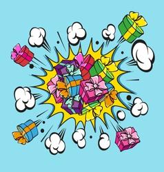 Comic book explosion present vector image vector image