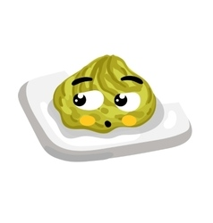 Funny wasabi on plate cartoon character vector image