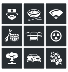 Set of Japan Icons Japanese Food Fan vector image