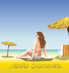 A girl with sun glasses and swimming suit vector image