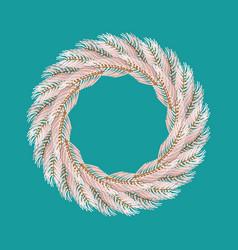 Christmas wreath white isolated fir branch vector