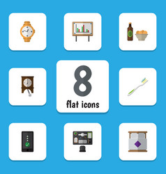 flat icon life set of clock cellphone beer with vector image vector image