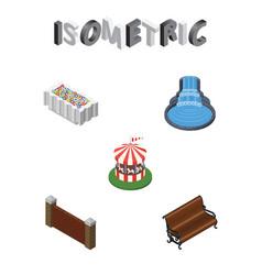 isometric city set of sitting garden decor vector image vector image