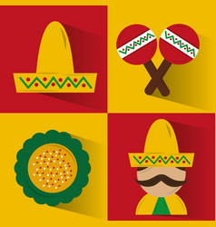 set of icons viva mexico party celebration vector image vector image