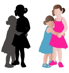 two adorable little girls vector image