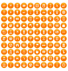 100 taxi icons set orange vector image