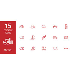 15 motor icons vector image
