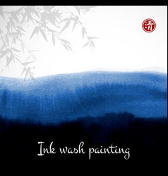 Bamboo and abstract black ink wash painting vector