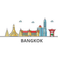 bangkok city skyline buildings streets vector image