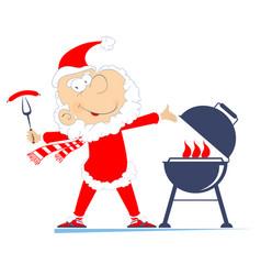 Barbecue and santa claus vector