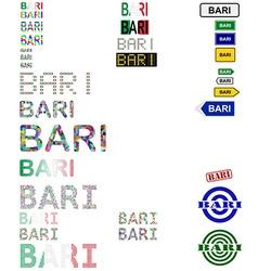 Bari text design set vector