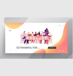 Big family thanksgiving celebration dinner website vector